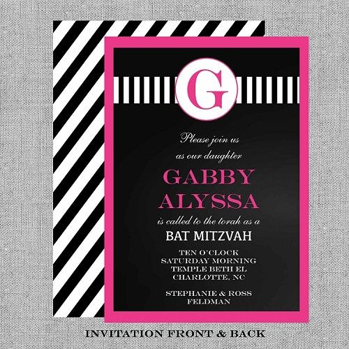 Bat Mitzvah Invitations - Chalkboard, Hot Pink, Black and White Stripes by  CutiePatootieCreations.com!