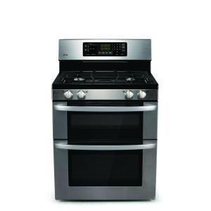30 in. Self-Cleaning Freestanding Double Oven Gas Range in Stainless Steel-LDG3011ST at The Home Depot