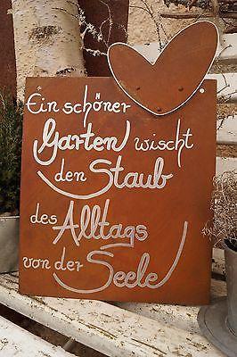 Edelrost Tafel mit Herz Alltag Gartendeko Schild G…
