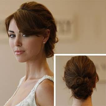 Wavy Low Bun Wedding Hair with Bangs