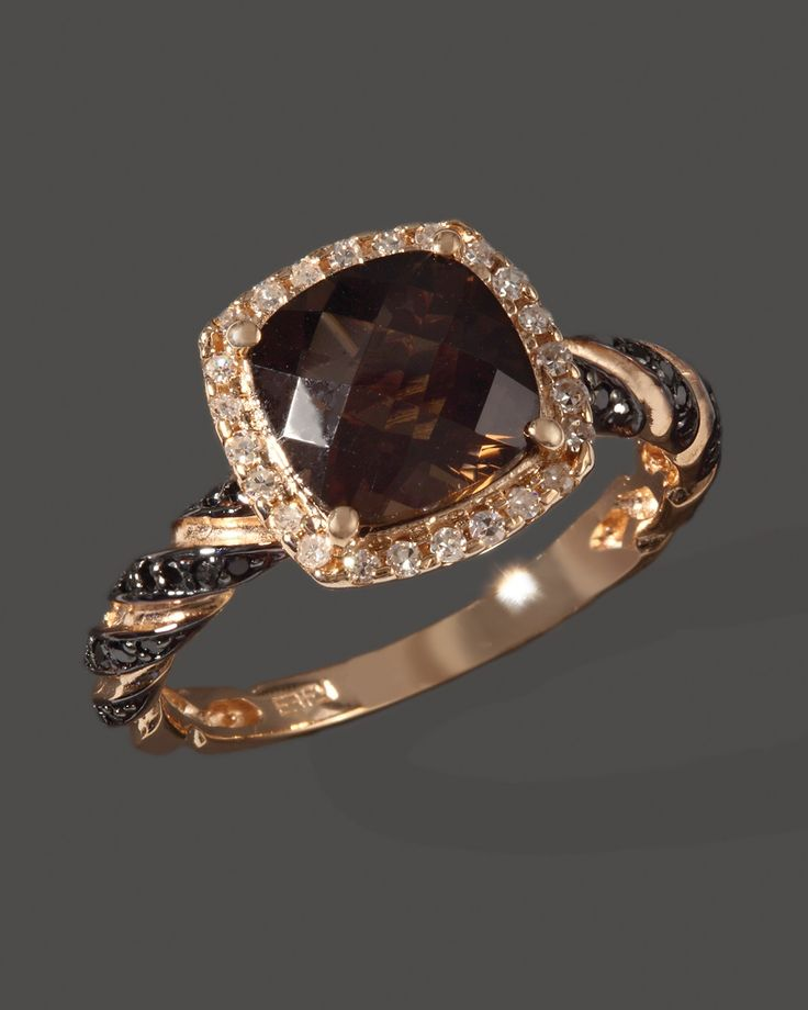 Diamond, Black Diamond And Smoky Quartz Ring In 14K Rose Gold - Jewelry & Accessories - Categories - Sale - Bloomingdale's