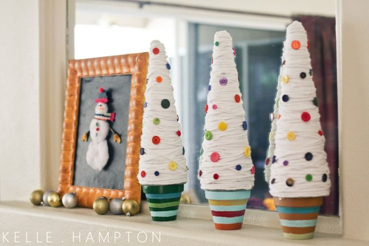 DIY: Idea, Christmas Crafts, Holidays, Buttons, Christmas Trees, Button Tree, Kid