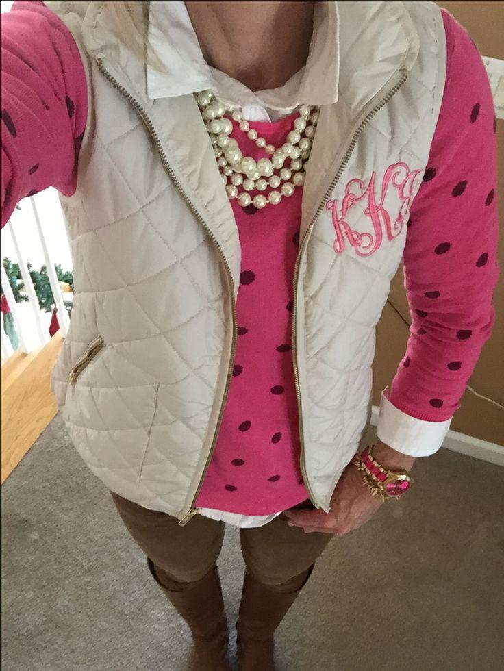Fashion Over 40:  Old Navy sweater, monogram vest via Etsy, Gap cords, Etienne Aigner Chip boots