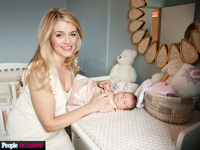 Daphne Oz partnered up with Bellini to create a gender-neutral French Blue and Coral nursery for daughter Philomena Bijou