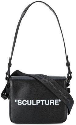 Off-White Women's Black Leather Shoulder Bag.