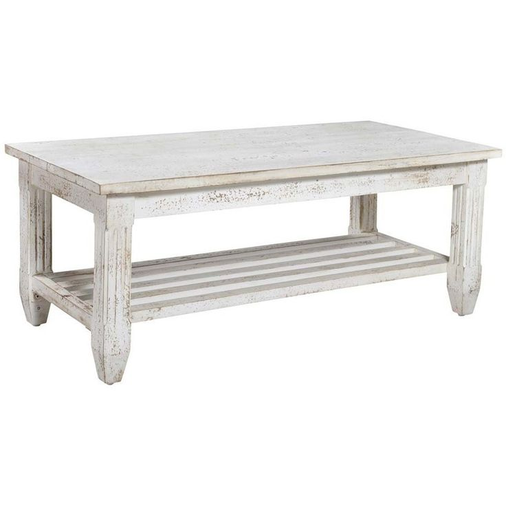 Coast To Coast 93454 Grayson Console Table In Distressed White