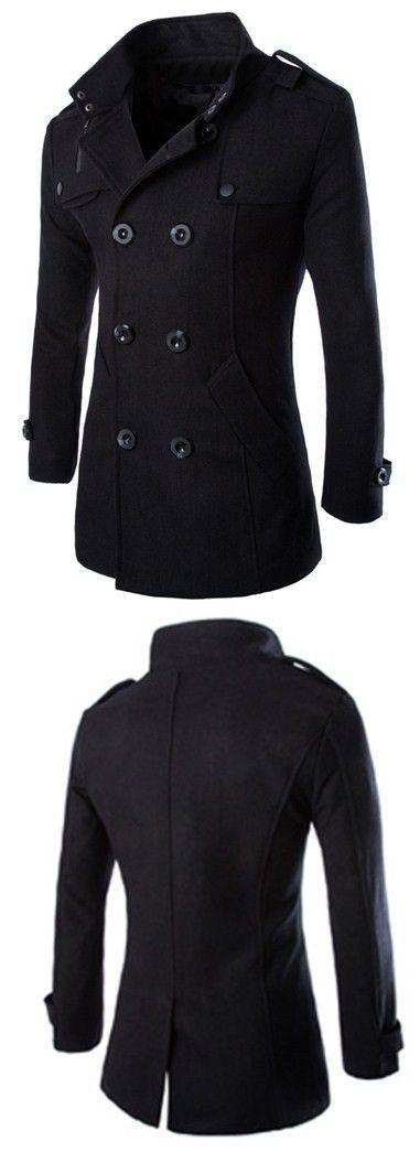 Turn-Down Collar Epaulet Design Double Breasted Long Sleeve Woolen Men's Peacoat