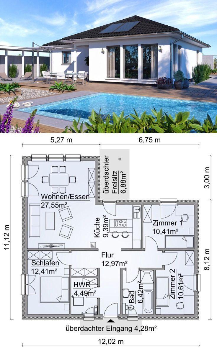 Winkelbungalow Haus Grundriss 100 qm mit Walmdach
