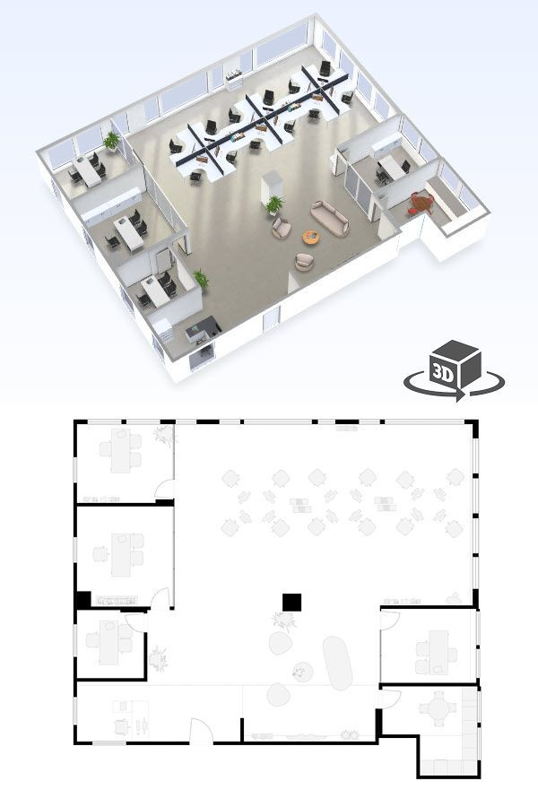 Small Office Floor Plan In Interactive 3d Get Your Own 3d Model Today At Http Planto Office Floor Plan Office Layout Plan Commercial And Office Architecture