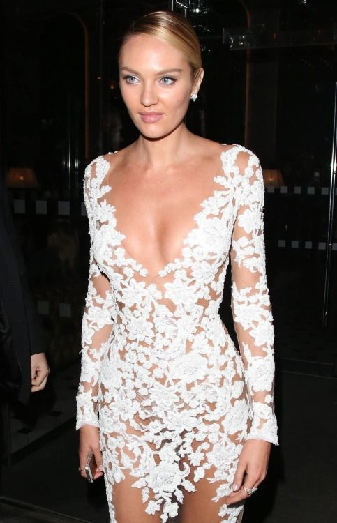 Candice Swanepoel wears see-through white dress
