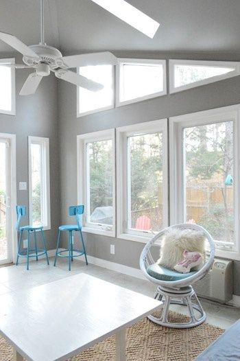Rockport Grey Paint - Benjamin Moore  I want this for my sunroom with those windows and paint color.