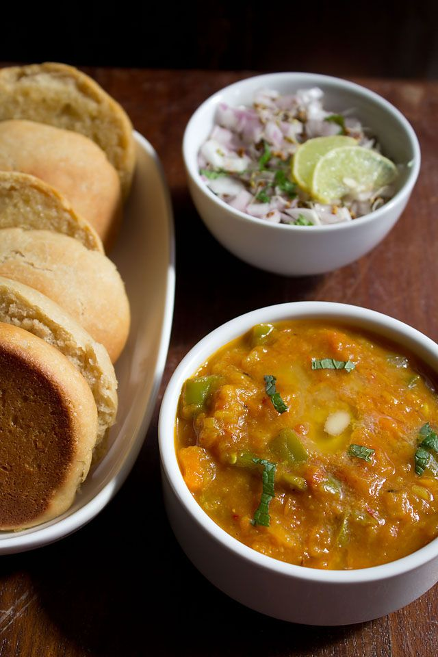 Mumbai Pav Bhaji, a fast food dish from Mumbai made with potatoes, tomatoes, spices to be eaten on bread. Well loved in India! It looks so good and easy!