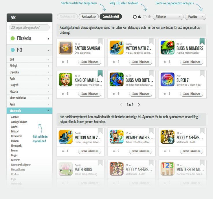 Kunskapsplattan - här samlas appar i listor utifrån ålder och ämnen. Möjlighet att skapa egna listor. Prenumerationstjänst som är kostnadsfri t o M 30 september 2013.