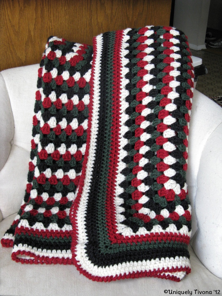 Green - Red - White and Black Granny Square  Squared off with a HDC and finished off with a Crab Stitch.