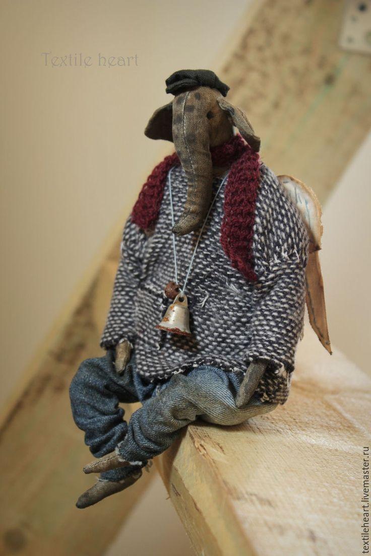 Купить Анатолий - комбинированный, слон, ангел, Ангел хранитель, слон игрушка, антропоморфизм, странные куклы