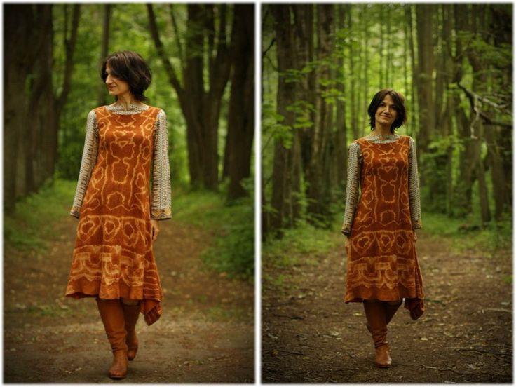 Onion story: dyeing and felting silk sundress - Fair Masters - handmade…