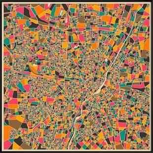 Munich - Jazzberry Blue - Poster im Kunststoffrahmen