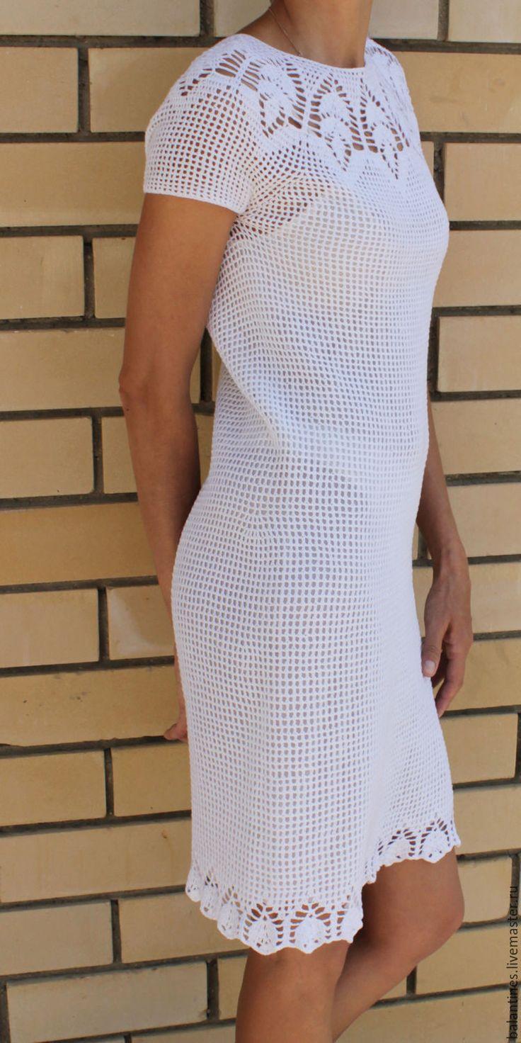 Купить Платье вязаное Кокетка летнее двухстороннее крючком из хлопка - платье…