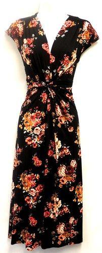 Deco Rose Bouquet WWII 1940's Vtg Style Land Girl Tea Dress