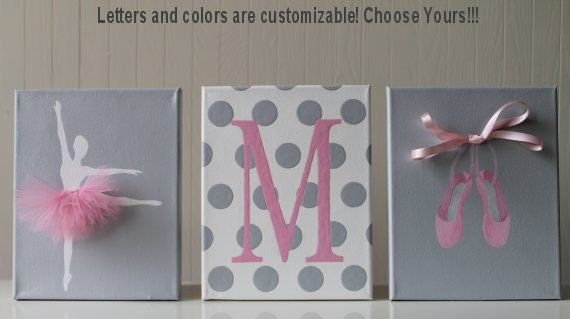 Baby Girl Nursery Decor Ballerina Nursery Art Pink Gray Nursery Ballerina…