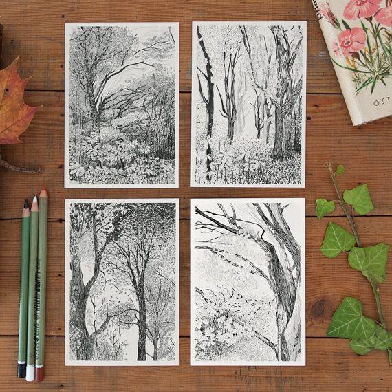 Zarte Baumillustrationen auf hochwertigem Papier gedruckt, zum Verschicken oder Rahmen  - von Theresa Grieben