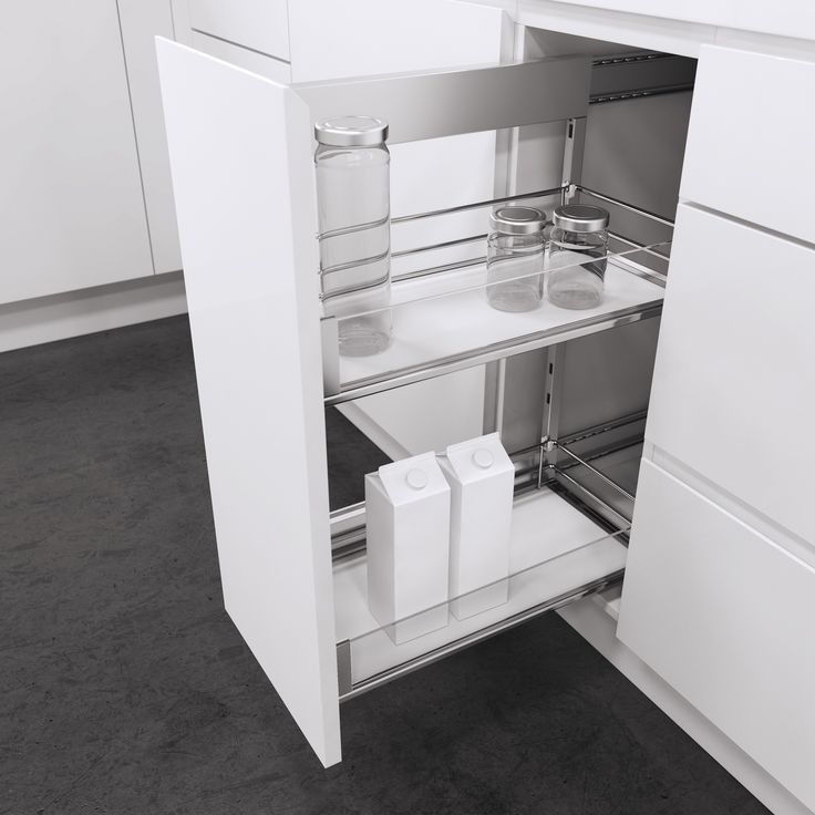 Classic Side Mounted Pull-Out Unit from Vauth-Sagel with Premea Artline glass finish. So easy to use with full extension, soft close and able to mounted on right hand or left hand side to suit your set up. Height adjustable baskets and available for cabinet widths of 150mm, 200mm, 300mm and 400mm. Select from Saphir Chromed Wire baskets, Premea solid base baskets or Premea Artline baskets with solid base chromed surround and glass panel (as shown)