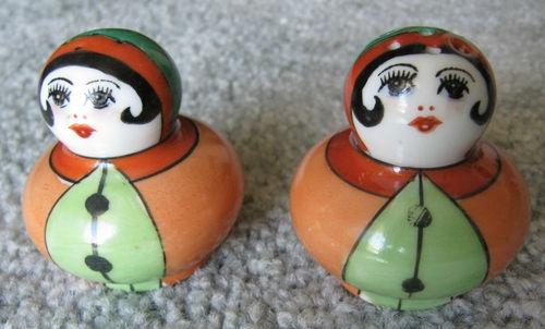 Vintage Noritake Art Deco Japan Woman Women Salt Pepper Shakers Set
