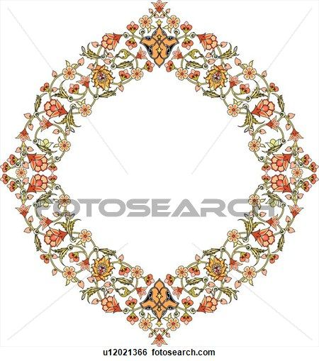 Red, green, yellow and orange floral pattern Arabesque frame View Large Clip Art Graphic