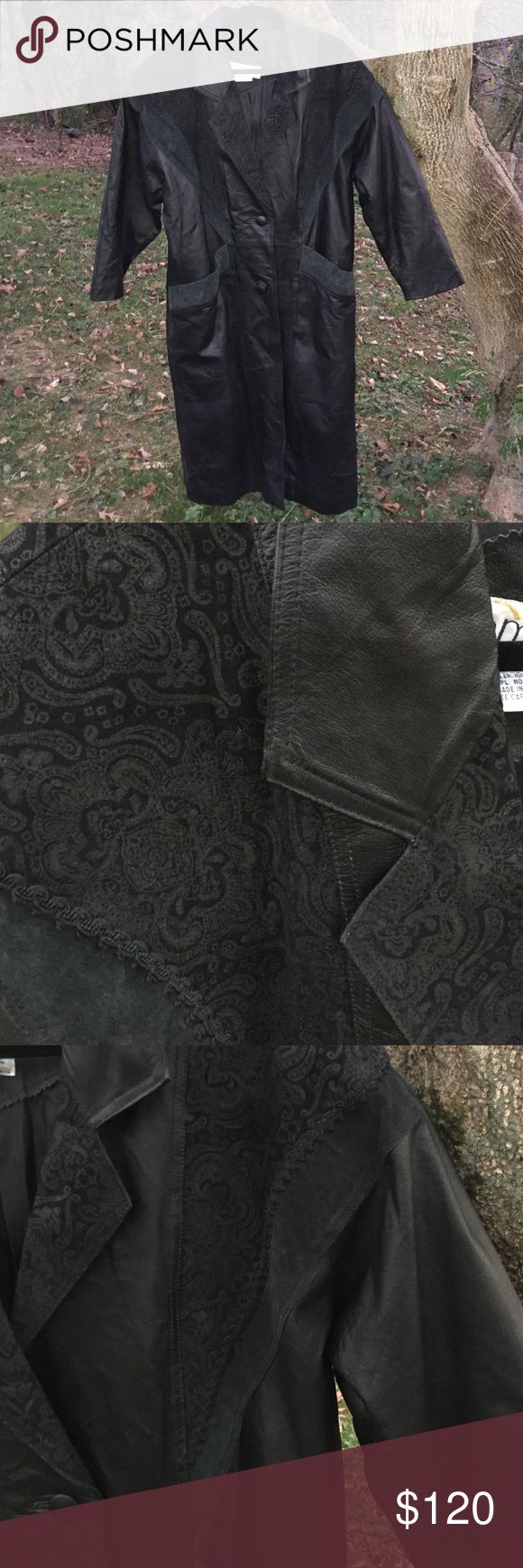 Long Leather Coat Genuine leather coat by Omint. Detail pattern on shoulders, lapel, upper back and top of pockets. Button front and two deep pockets. Worn only a couple times. In Great Condition! Omint Jackets & Coats Trench Coats