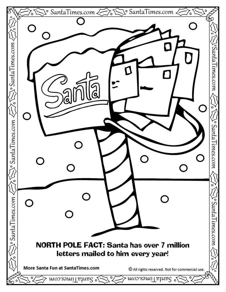 More Holiday Fun At SantaTimes See Santas North Pole Mailbox Printable Coloring Page