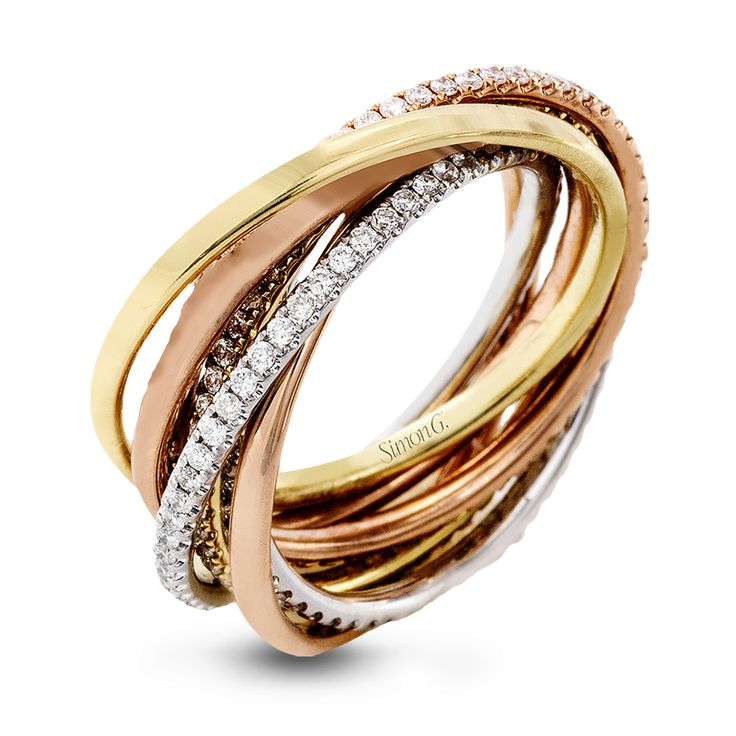 This lovely rolling ring combines three different colors of 18k gold, accented by rows of .80 ctw of white round brilliant diamonds.