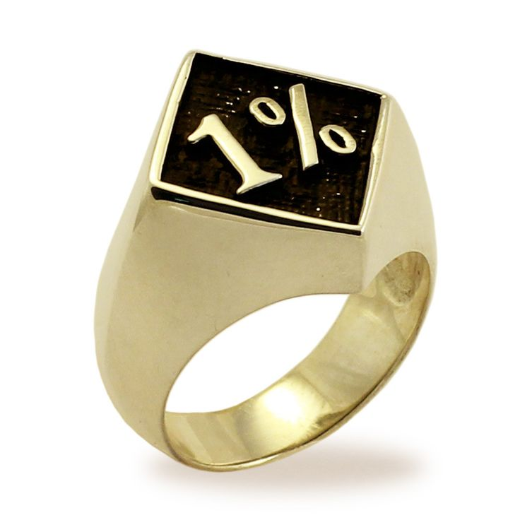 1% Ring 1er OUTLAW BIKER RING in Bronze with Antiquated One Percent Motorcycle Club