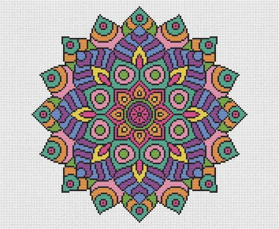 PATTERN Statement Mandala Cross Stitch Chart por theworldinstitches