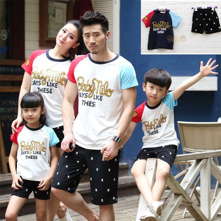 2016 лето новая семья наряды, Мать дочь девушки парни мода одежда, Дети детские спортивные майка + брюки крест-тела детей-наряды