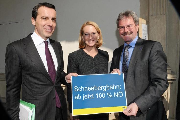 Karl Wilfing  Nach Vertragsunterzeichnung mit den ÖBB gehört die Schneebergbahn nun zu 100% der NÖVOG und ist damit zur Gänze in niederösterreichischer Hand. Mit der Schneebergbahn ist uns der Beweis gelungen, dass Bahnunternehmen wirtschaftlich geführt werden können. Diesen erfolgreichen Weg der Lebensader der Region führen wir jetzt weiter.