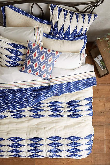 Dotted Ikat Quilt - blue or coral! anthropologie.com