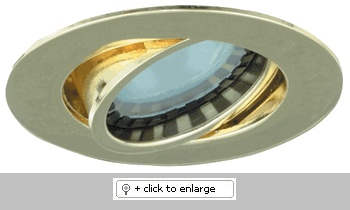 """Mini MR11 Downlight with Diecast Aluminum Gimbal Ring   Includes 3"""" high miniature thermally protected Housing    ETL Listed for remote transformer  Lamp: 12V 20W MR11 (not included)    Dimension: Cutout: 2 3/8"""", Trim O.D.: 2 7/8""""  Regular price: $32.99  Sale price: $18.50"""