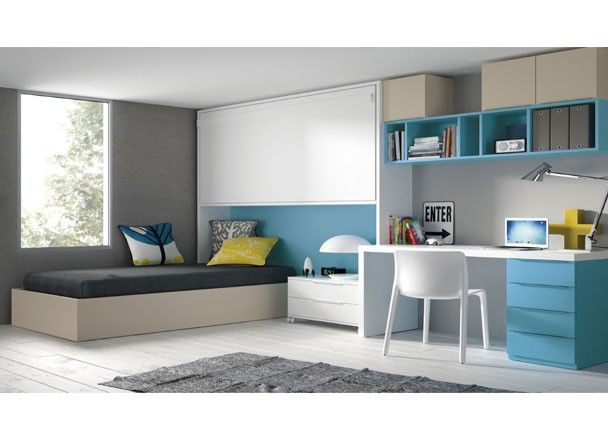 Juvenil con cama puente abatible camas abatibles - Habitaciones juveniles camas abatibles horizontales ...