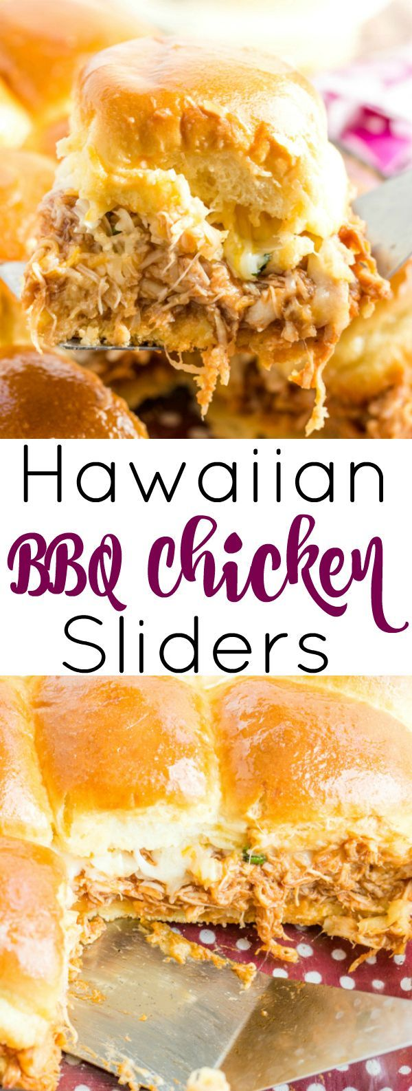 Enjoy game day with these sweet and tangy Hawaiian BBQ Chicken Sliders full of bbq chicken, pineapple, onions, cilantro and cheeses. #Bbqchicken