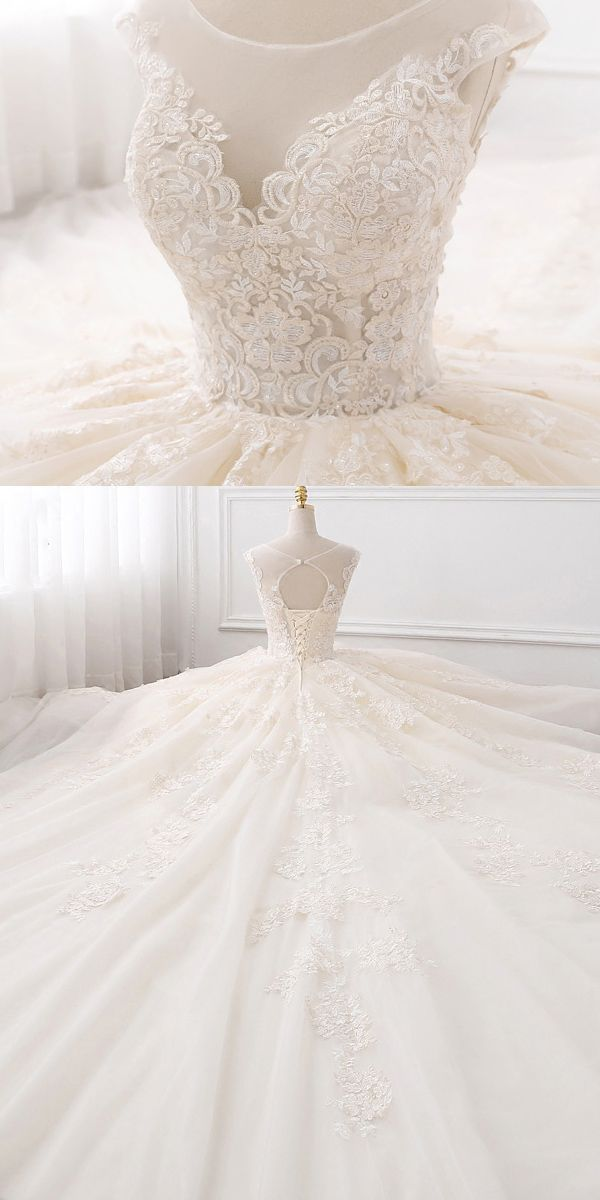 [258.50]  Fabulous Tulle Jewel Neckline Ball Gown Wedding Dresses with Lace Appliques