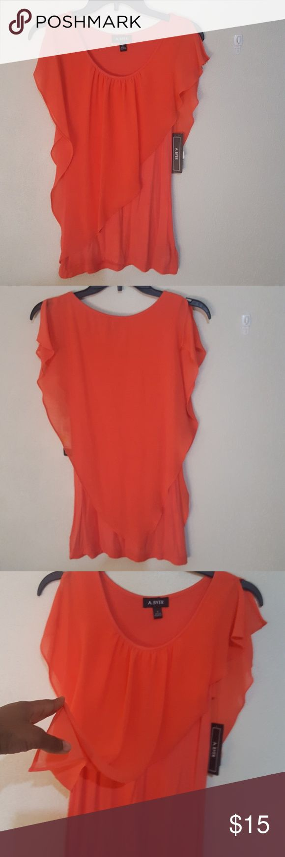 A Byer Cold Shoulder  blouse Salmon, cold shoulder 100% polyester  blouse. Super cute with sheer decorative sheer front.  Would complement any pair of skinny pants or jeans.. NWT A. Byer Tops Blouses