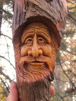 Wood Tree Carving Spirit Log Home Gnome Cabin Folk Art Sculpture Forest Face