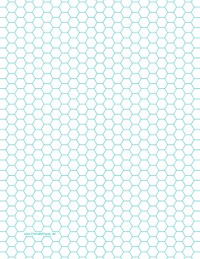 This letter-sized hexagon graph paper is spaced with hexagons a quarter inch apart. Free to download and print