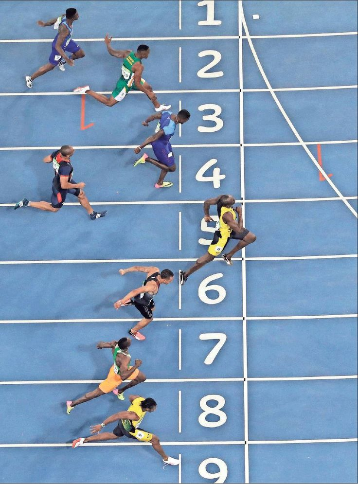 Cool picture of Usain Bolt winning his 3rd Olympic gold in 100 m sprint.