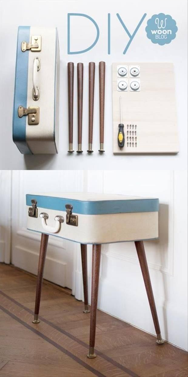 TREND - SUITCASES Table out of vintage suitcase #diy