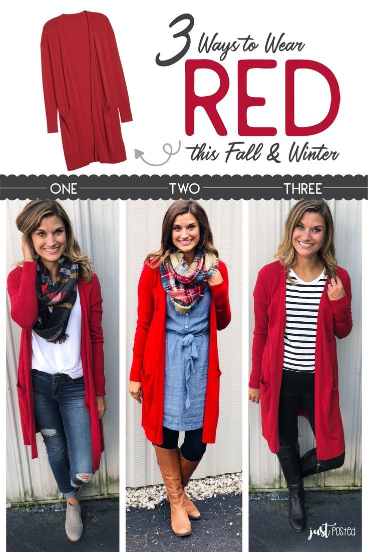 3 Different Ways Style To Wear This Red Cardigan This Fall Winter It Is Easy To Wear Casually Or Dre How To Wear Cardigan Red Cardigan Outfits Wearing Red