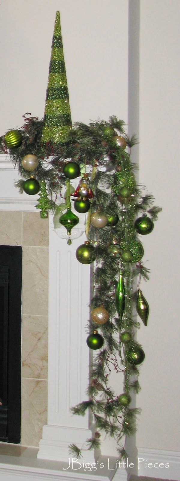 My mantel is done and chartreuse is the main color. The cones are individual pieces of glittered and spangle pieces in two shades of green. ...