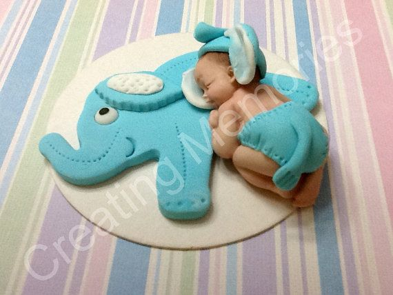 Fondant Baby with Elephant Cake Topper - Baby Blue