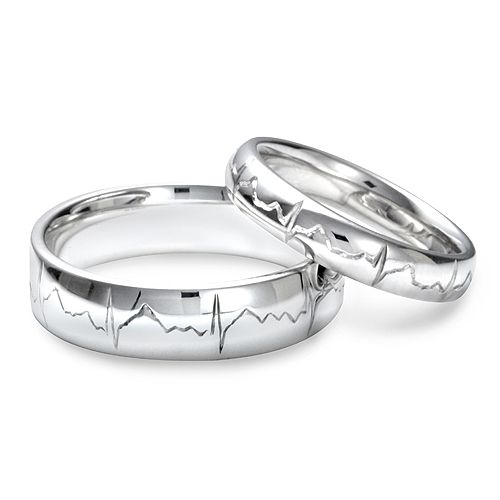 heartbeat engraved wedding bands. perfect for a couple in the medical field.