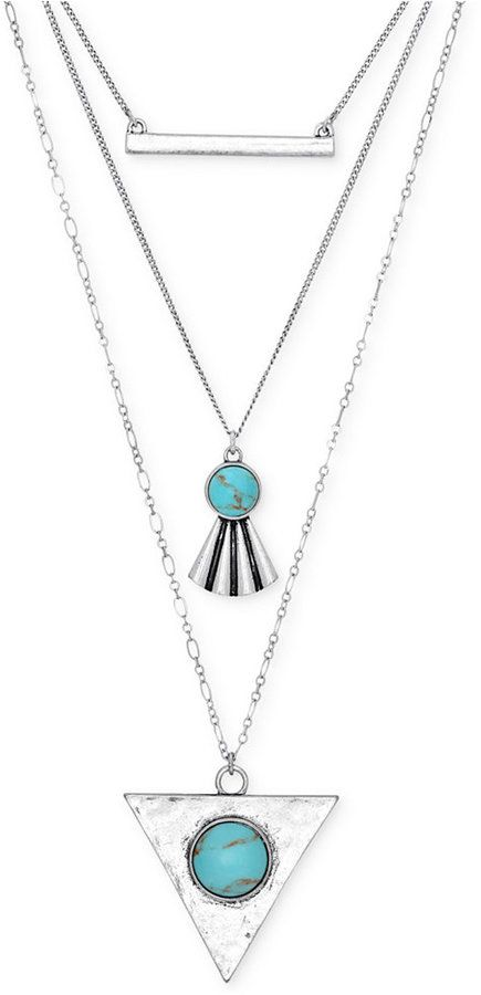 LUCKY BRAND SILVER-TONE LAYERED PENDANT NECKLACE $39 by Lucky Brand at Macy's Available Colors: Silver Available Sizes: DETAILS Runway chic. Look up-to-the-minute with this boho-inspired layered necklace by Lucky Brand. Featuring two large stone pendants and a silver bar pendant suspended on three uniquely styled chains. Crafted of silver-tone mixed metal. Approximate length 17 inches + 2 inch extender. Approximate drop: 4 inches.